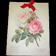 SOLD Jan 1906 Paul de Longpre Calendar Page Pink Roses