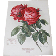 SOLD 1906 April Paul de Longpre Calendar Page Red Roses