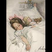 SOLD 1912 Asleep Print by Harrison Fisher Girl Doll & Teddy Bear