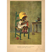 1929 Black Girl Knitting by Ida Chubb