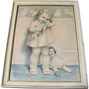 Bessie Pease Gutmann Girl w. Dolls Framed Print