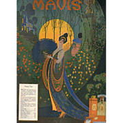 Art Deco June 1920 Vivaudou Mavis Perfume Ad by Fred Packer