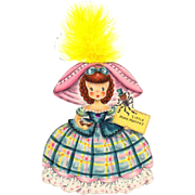 Sweet 1947 Hallmark Die-Cut Doll Card - Little Miss Muffet
