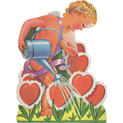 Die-Cut Cupid Watering His Garden of Hearts Stand-Up Valentine