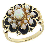 SALE Beautiful Vintage 14K 14 Karat Yellow Gold Opal Cluster Cocktail Ring