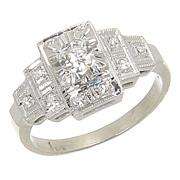 SALE Vintage 14kt 14 Karat White Gold Diamond Solitaire Engagement Ring