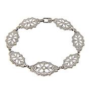 SALE Estate 14kt 14 Karat White Gold Filigree Diamond Art Deco Style Bracelet