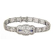 SALE Vintage Art Deco Filigree 14 Kt  14 Karat White Gold Diamond & Synthetic Sapphire Bracele