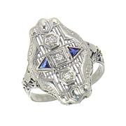 SALE Beautiful Art Deco 14 K 14 Karat White Gold Diamond and Sapphire Ring