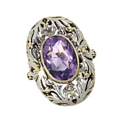 SALE Huge Exquisite Vintage 14K 14 Karat Yellow Gold and Sterling Silver Amethyst Ring