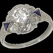Art Deco 18kt 18 Karat White Gold .80 ct Diamond Solitaire Sapphire Engagement Ring