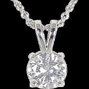 SALE High End Estate 14kt 14 Karat White Gold .86 ct Diamond Solitaire Pendant Necklace