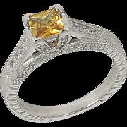 SALE High End Estate 14kt 14 Karat White Gold Yellow Sapphire Diamond Ring