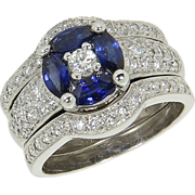 Estate 14kt 14 kt White Gold 1 Ct Sapphire 1.20 Ct Diamond Engagement Wedding ...