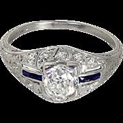 SALE Beautiful Art Deco Platinum .94 Ct Diamond Solitaire Sapphire Engagement Ring