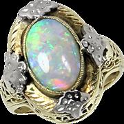 SALE Vintage 14kt 14 Karat Yellow White Gold Filigree Opal Ring