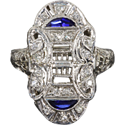 SALE Exquisite Art Deco 14 kt 14 Karat White Gold Filigree Diamond and Sapphire Navette ...