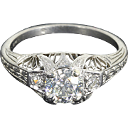 SALE GIA Potentially Flawless .94 Cts. Old European Art Deco Platinum Engagement Ring