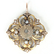 SALE Antique Victorian 18k Yellow Gold Rose Cut Diamond Seed Pearl Pendant