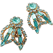 SALE BG131 Big Amazing Sea Blue Crystal Rhinestone Designer Earrings Gold Tone Clip On Backs V
