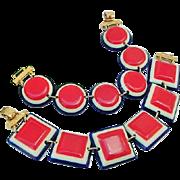 SALE BG177 Bright Patriotic Red White Blue Plastic Chunky Squares & Rounds Bracelet Set Vintag