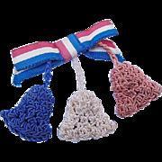 SALE BG163 World War II Sweetheart Homefront Pin Patriotic Victory Brooch Ribbon with Crochet