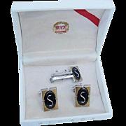 SALE BG101 Hickok Hematite S Initial Letter Cufflinks & Tie Bar Clasp Clip Vintage in Original