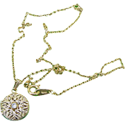 SALE Vintage Crown Trifari Rhinestone Photograph Photo Filigree Locket Pendant & Necklace Chai