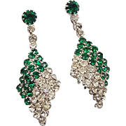 SALE BG114 Art Deco Dangle Drop Emerald Green & Ice Clear Crystal Rhinestone 2inch Earrings Cl