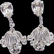 BG187 Napier Chandelier Runway Designer Earrings Ice Clear Crystal Rhinestone Dangles Clip Ons
