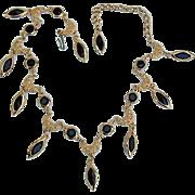 SALE BG371 Vintage Crystal Bezel Set Black Gleaming Gold Choker Necklace