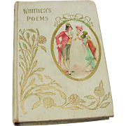 Victorian Antique Book 1900 Whittiers Poems Collection Lovely Courting Couple Litho Cameo Cove