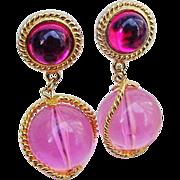 SALE BG402 Fantastic Lucite Hot Pink & Magenta Gleaming Gold Tone 2inch Dangle Ball Earrings N