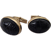 BG142 Art Deco 12K Gold Fill Large Scarab Egyptian Revival Cuff Links Molded Black Glass or Ca