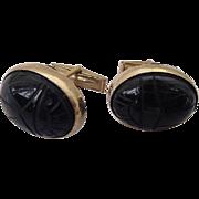 SALE BG142 Art Deco 12K Gold Fill Large Scarab Egyptian Revival Cuff Links Molded Black Glass