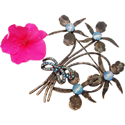 SALE BG80 H Pomerantz New York Early Art Deco 4 Inch Blue Moonstone Art Glass Givre Big Brooch