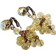 BG117 Lemonade Yellow Sparkle Crystal Facetted AB Earrings Chandelier Dangle Drops Clips Vinta