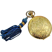 BG356 Vintage Estee Lauder Gold Compact Powder with Mirror and Royal Blue Tassel Pocket Watch