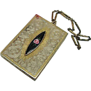BG124 Hand Painted Rose Enamel Two Tone Compact Mirror Lipstick Rouge Blush & Complexion Powde