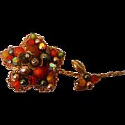 SALE 4inch Gaudy Vintage 1960s Perhaps Miriam Haskell Unsigned Flower Metal Filigree Pin Brooc