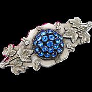 SALE Stunning Art Nouveau to Art Deco Sapphire Blue Crystal Rhinestone Domed Silver Plated Lea