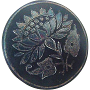 Antique Etched Hand Forged Iron Metal Water Lily Pads Brooch Pin Victorian Civil War