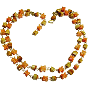 BG95 Vintage Japan Gold Fill Wire Polished Agate Double Strand Choker Necklace Soft Peaches an