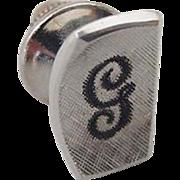 BG790 Signed Sterling Silver Cursive G Initial Letter Black Enamel Vintage Tie Tack Lapel Pin