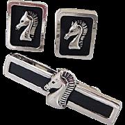 BG789 Swank Trojan Horse Cuff Links & Tie Bar Clip Clasp Set Black Enamel with Silver Intaglio