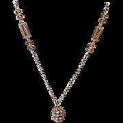 BG398 Vintage Rhinestone Egg Pendant Necklace Pastel Blue Pink Green Crystal Rhinestones
