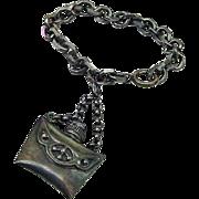 SALE BG309 Vintage Napier Sterling Silver or Plated Antiqued Perfume Bottle Vial Pendant Charm
