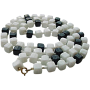 BG225 Vintage Geometric  32inch Cubist Cubes Black & White Milk Glass Necklace Seed Beads