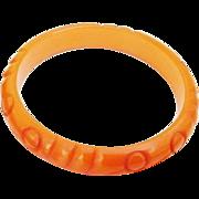 SALE BG488 Bakelite Tested Old Plastic Bracelet Pumpkin Tangerine Orange Carved 1/2 inch Wide