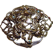 Antique Edwardian to Art Nouveau Lady Lotus Blossom Repousse Belt Buckle Slide Faux Turquoise